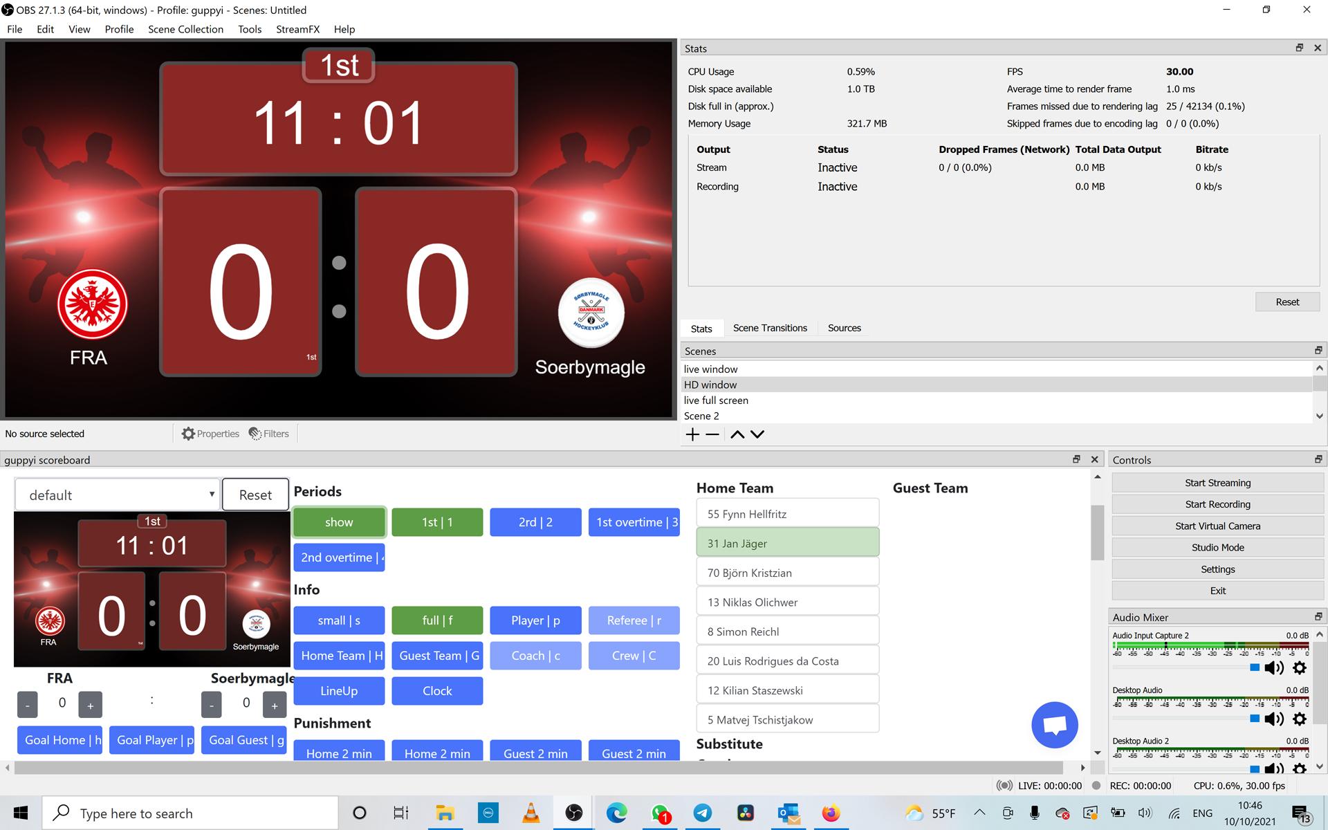 OBS Browser Dock and guppyi scoreboard